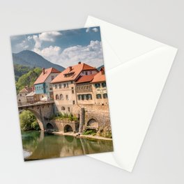 World Popular Ancient Capuchin Bridge Skofja Loka Slovenia Europe Ultra High Resolution Stationery Cards
