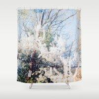 telephone Shower Curtains featuring Telephone Pole by Lauren VanDerwerken