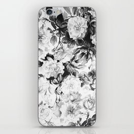 Black gray modern watercolor roses floral pattern iPhone Skin