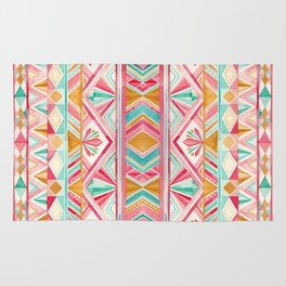 Spring Gems // Pink Gold and Turquoise Geometric Pattern Rug