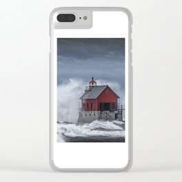 Grand Haven Lighthouse in a November Storm on Lake Michigan Clear iPhone Case