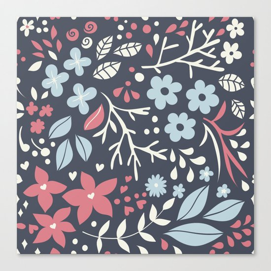 Floral pattern with doodles of flowers and leaves Canvas Print