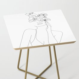 Minimal Line Art Woman with Flowers Side Table