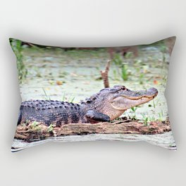 Alligator, Sunning on Rock Rectangular Pillow