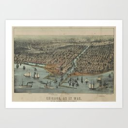 Vintage Pictorial Map of Chicago IL (1907) Art Print