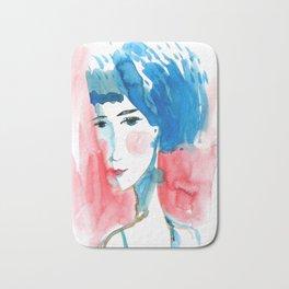 watercolor portrait. sad girl Bath Mat