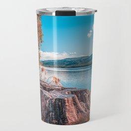 Lake Te Anau with big tree stump on the foreground, Fiordland, South Island, New Zealand Travel Mug