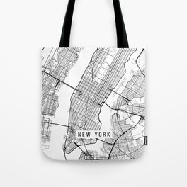 New York City Map, Manhattan New York USA - Black & White Portrait Tote Bag