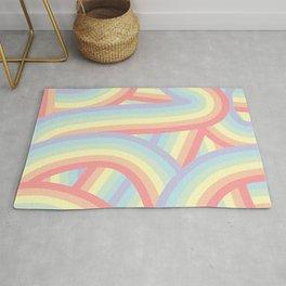 Soft Pastel Rainbow Stripes Pattern Rug