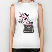 typewriter Biker Tanks featuring typewriter by Natasha79