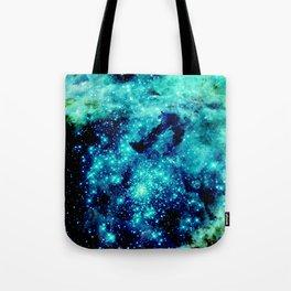 GALAXY. Teal Aqua Stars Tote Bag