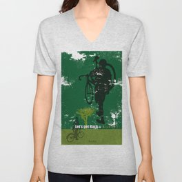 Let's get back to nature-Bycicle. Unisex V-Neck