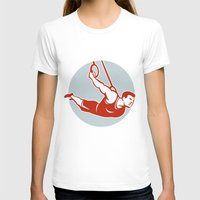 crossfit T-shirts featuring Crossfit Pull Up Bar Circle Retro by patrimonio