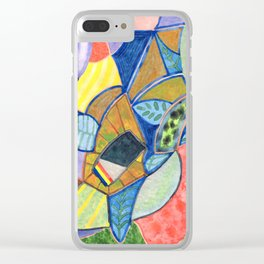 Tropical Shapes Cocktail with Leaves Clear iPhone Case