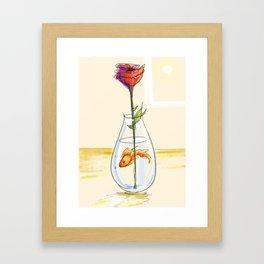 Goldfish and Rose Framed Art Print