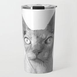 Black and White Sphynx Cat Travel Mug