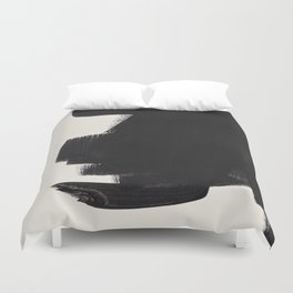 Mid Century Modern Minimalist Abstract Art Brush Strokes Black & White Ink Art Colorfield Duvet Cover