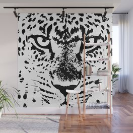 Black and White Leopard Big Wild Cat Wall Mural