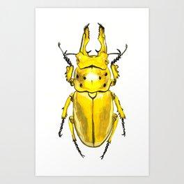 Yellow Japanese Stag Beetle Art Print