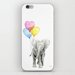 Elephant Watercolor with Balloons Rainbow Hearts Baby Animal Nursery Prints iPhone Skin