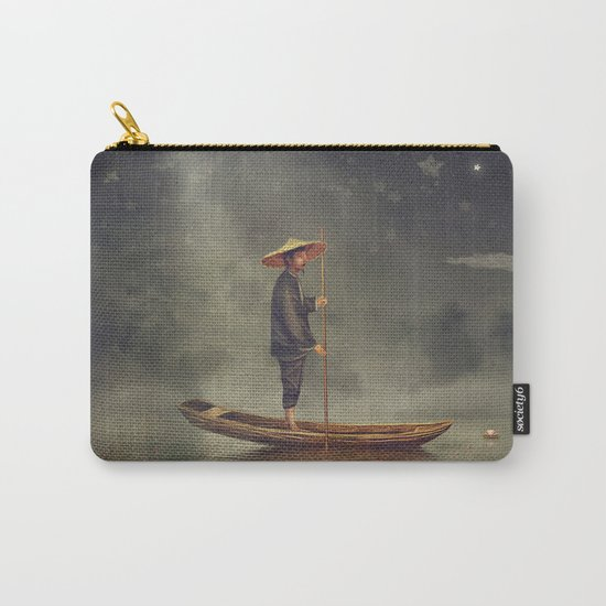 Chinese man  stands in boat  at river Carry-All Pouch