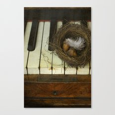 Birds nest and piano. Canvas Print