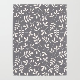 Assorted Leaf Silhouettes Cream on Grey Ptn Poster