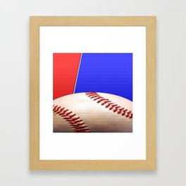 Baseball Sports on Blue and Red Framed Art Print