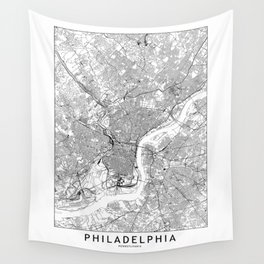 Philadelphia White Map Wall Tapestry