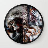 punk rock Wall Clocks featuring Punk Rock by Studio46