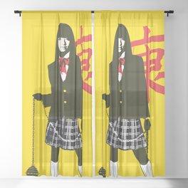 Gogo Yubari Kill Bill art Sheer Curtain