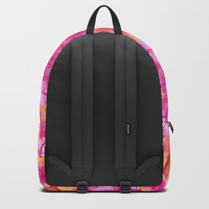Tropical hibiscus flowers flower floral pattern on pink Backpack