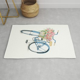 Blue Bicycle with Flowers in Basket Rug