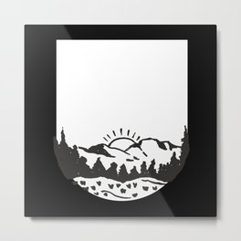 Black And White Mountain Scence Metal Print