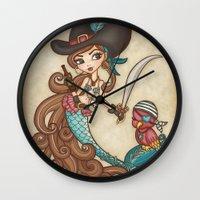 sword Wall Clocks featuring Parrot's Sword by tsai-fi