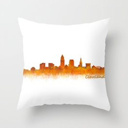 Cleveland City Skyline Hq V2 Throw Pillow