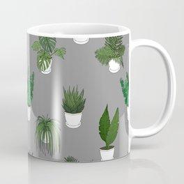 Houseplants Illustration (grey background) Coffee Mug