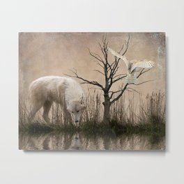 Woodland wolf reflected Metal Print