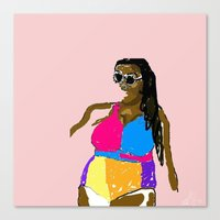 bikini Canvas Prints featuring Bikini  by Hannah Grant