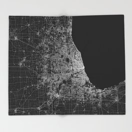 Chicago map Throw Blanket