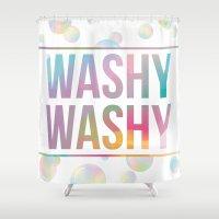 bathroom Shower Curtains featuring BATHROOM SERIES - Washy Washy!  by Noonday Design