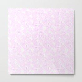 Pale Pastel Pink Monstera and Palm Leaves Metal Print