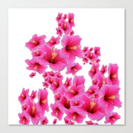 MODERN ART TROPICAL FUCHSIA HIBISCUS  FLOWERS Canvas Print