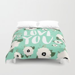 Love you Floral - Turquoise Duvet Cover