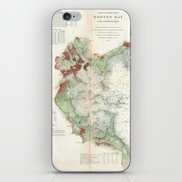 Vintage Map of Boston Bay (1866) iPhone Skin