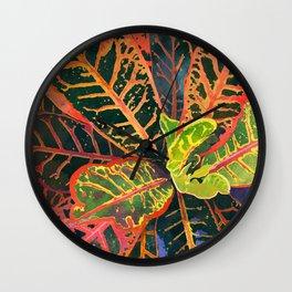 Coral Croton Tropical Plant Leaves | Modern Garden Art Print Wall Clock