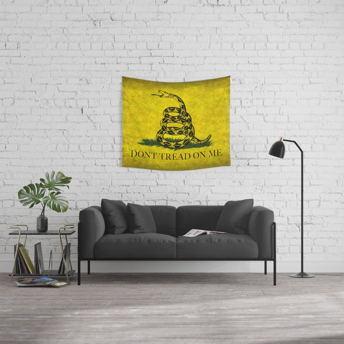 Gadsden Flag, Don't Tread On Me in Vintage Grunge Wall Tapestry