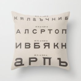 Russian Cyrillic Vision Chart Throw Pillow