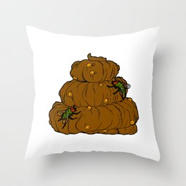 Poop & Flies Throw Pillow