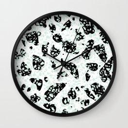 Triple Terrazzo - Mint Green Black & White Modern Speckle Pattern Wall Clock